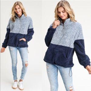 Sweaters - HEMA Navy Pull up Zipper Sweater